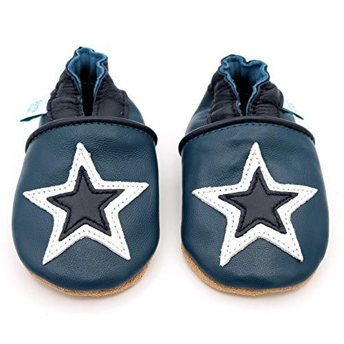 Dotty Fish - Garçons et Filles Chaussures Cuir Souple bébé et Bambin – Étoile Bleu Marine - 12-18 Mois (EU 21)