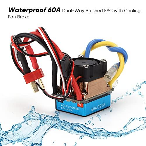 RC 60A Dual‑Way Brushed ESC, Premium Brushed ESC RC 60A ESC mit Lüfter für TRX4 TRX6 D90 für Axial SCX10 90046 90047