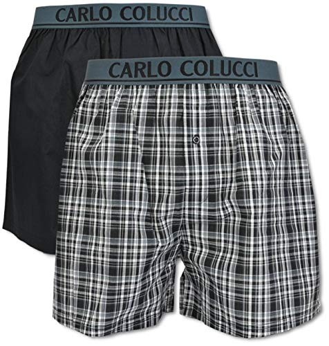 Carlo Colucci Herren Boxershort mit Webbund, Schwarz-Grau Kariert Schwarz/Grau 6/L