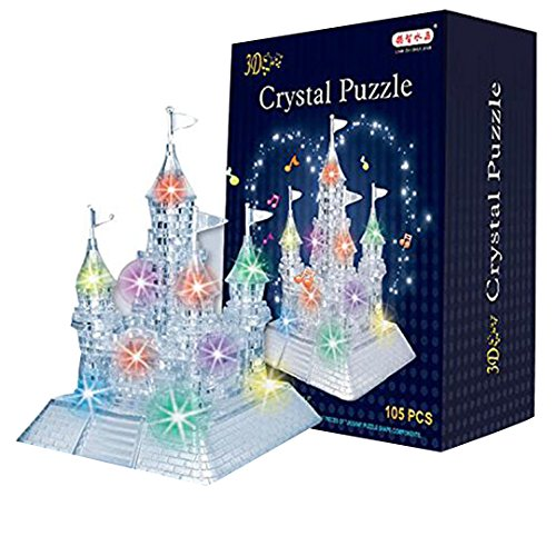 AiSi 3D Crystal Puzzle Jigsaw DIY Crystal Castle Blocks Office Desk Toy with Light-Up Musical,105pcs