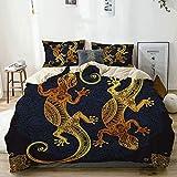Juego de Funda nórdica Beige, lagartos artísticos de Gecko Estilo Tatuaje de Henna Tropical, Juego de Cama Decorativo de 3 Piezas con 2 Fundas de Almohada
