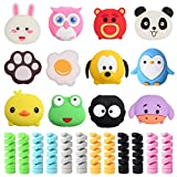 24 Pcs Charger Cable Protectors for iPhone/iPad/iwatch/Earphone,Big Head Cartoon Animal USB Charging Cable Saver Phone Accessory and Spiral Tube Spring-Shaped Flexible Wire Protector