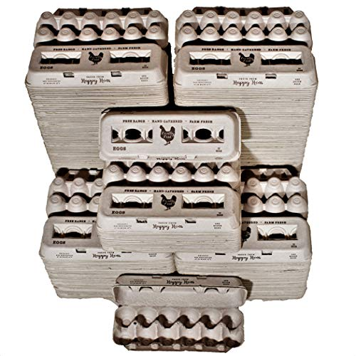 250 Egg Cartons- Bulk Value Bundle- Adorable Printed Design for Farm Fresh Eggs, Recycled Paper Cardboard, Sturdy & Reusable, Holds up to XL Chicken Eggs