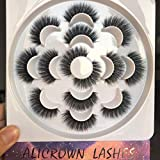 3D Dramatic Faux Mink Eyelashes, ALICROWN False Lashes Fluffy Volume Lash Pack Handmade Thick Cross Fake Eyelashes Soft Reusable 7 Pairs
