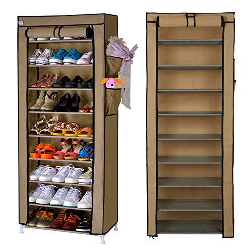 MorNon A Prueba de Polvo 10 Tier Shoes Gabinete Organizador de Almacenamiento Estante para Zapatos Soporte para 27 Pares