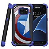 MINITURTLE Compatible with Samsung Galaxy S7 Heavy Duty Case, S7 Case, SMG930 Treasure Defender [Shockwave Armor] Rugged Slim Heavy Duty Stand Cover Shell w/Design American Shield