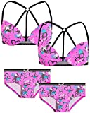 Limited Too Girls 4-Piece First Timer Molded Bralette and Panties Coordinate Matching Set, Pink, Size 34A'