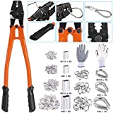 Glarks 132Pcs 14'' Long 1/16, 5/64, 3/32, 7/64, 1/8 inch Wire Rope Crimping Tool with Wire Rope Crimp Ferrules, Stainless Steel Cable Thimbles and Anti-Cutting Gloves