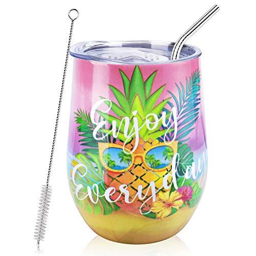 NymphFable 12oz Thermobecher Kaffeebecher To Go Personalisierte Ananas Edelstahl Weinglas Mit Deckel Beste Freundin