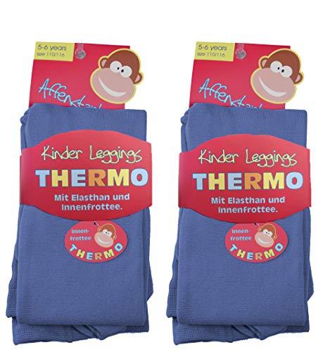 2 Stück Kinder Thermo Leggings 9-025/1 (110/116, 2x jeansblau) kinder-legging frottee leggings kinder leggings kinder mädchen thermoleggings jungen leggings kinder schwarz thermoleggings kinder