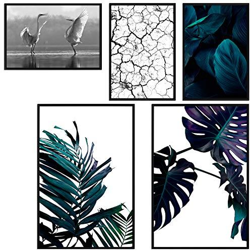 decomonkey | Poster 5er – Set schwarz-weiß Abstrakt Kunstdruck Wandbild Print Bilder Kunstposter Wandposter Posterset Monstera Blatt Pflanzen Vogeln Natur