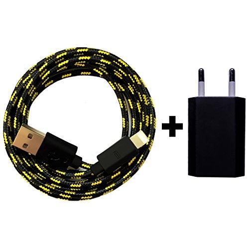 Nylon USB 8-Pin oplaadkabel datakabel oplader compatibel met [Apple iPhone XS XR XS Max X 10 8 8Plus 7 7Plus 6S 6SPlus 6 6Plus 5S 5C 5 SE | iPad | iPod] bont 1 Maand Shiny zwart + voeding
