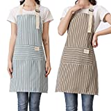 Lofekea Aprons for Women 2 Pack Adjustable Bib Aprons with 2 Pockets Cotton Linen Cooking Kitchen Chef Apron for Women and Men