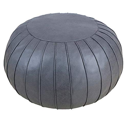 Unstuffed Pouf Cover, Ottoman, Bean Bag Chair, Foot Stool, Foot Rest, Storage Solution for or Living Room, Bedroom or Wedding Gifts (Empty & New)(Deep Grey)