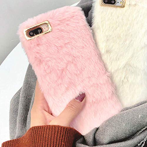 Plush Cover for iPhone 7 Plus Case iPhone 8 Plus Case, LAPOPNUT Lovely Faux Bunny Fur Case Luxury Super Soft Cover Artificial Rabbit Fluffy Furry Shockproof Back Bumper Case Cover - Pink