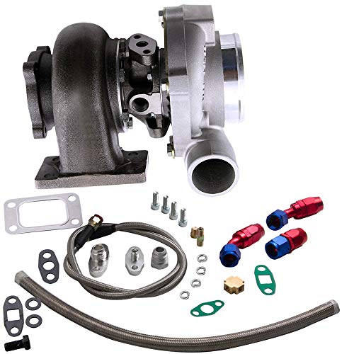 Compatible with Water Oil GT30 GT3037 GT3076 Turbo Charger 500HP +Oil Drain Return Feed Line Kit