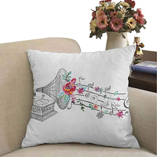 Music Pillow Cover Decor Vintage Gramophone Record Player with Floral Ornament Blossom Antique Decorative Cushion Cover Grey Black White Super Soft Fashion Best Gifts 24 x 24 inches