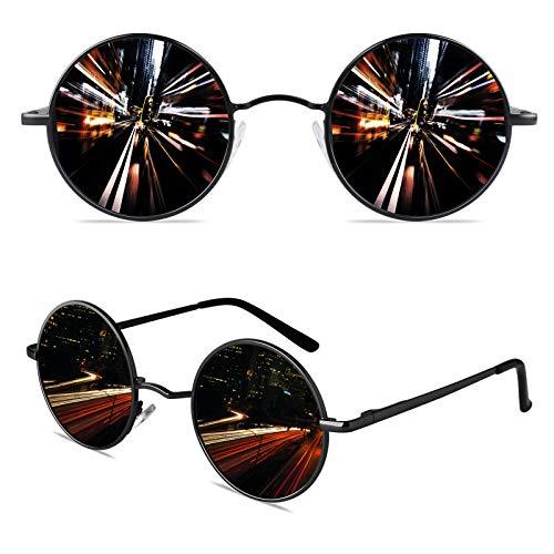 CGID Kleine Retro Vintage Sonnenbrille, inspiriert von John Lennon, polarisiert mit rundem Metallrahmen, für Frauen und Männer Schwarz Grau E01