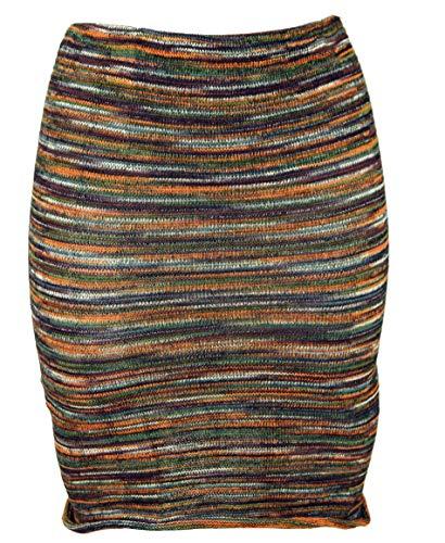 Guru-Shop Minirock, Boho Strickrock, Ethnorock, Damen, Rostorange/Olive, Baumwolle, Size:36, Röcke/Kurz Alternative Bekleidung
