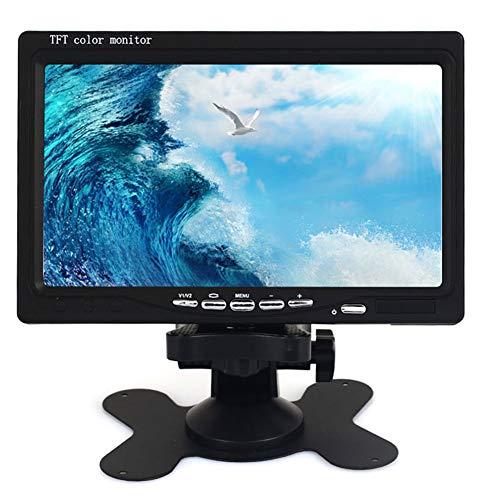 Haihuic 7 Zoll tragbarer Monitor, HD 1024x600 TFT LCD-Bildschirm mit AV VGA HDMI-Eingang, eingebauter Lautsprecher, für PC CCTV Home Security