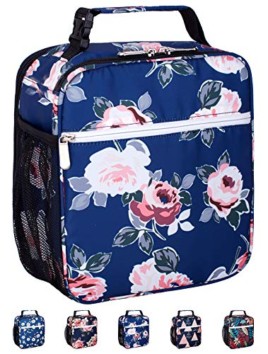 Leakproof Insulated Reusable Cooler Lunch Bag - Durable Compact Office Work School Lunch Box with Multi-Pockets & Detachable Buckle Handle for Women,Men and Kids-Flora Bloom