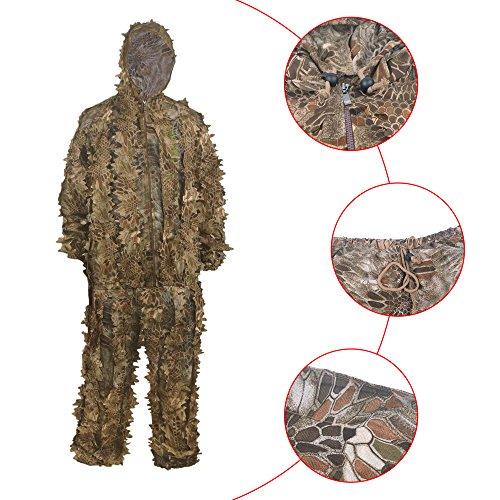 HYFAN Ghillie Suits 3D Foglia Woodland Abbigliamento Mimetico Outdoor Army Military Camo Abbigliamento per Jungle Hunting, Paintball, Airsoft, Fotografia naturalistica, Halloween (Sabbia)