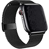 Tervoka Ersatzarmband kompatibel mit Apple Watch Armband 44mm 42mm, Metal Edelstahl Armband mit Magnet kompatibel mit iWatch Series 6/SE/5/4/3/2/1, Schwarz