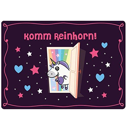 EinhornLiebe® deurmat eenhoorn kommreinhoorn afmetingen: 50 x 70 cm coole huisdeur deurmat binnen & buiten wasbaar