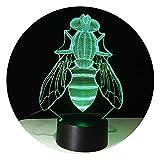 Visión estéreo visual Luz de noche creativa en forma de abeja 3D con 7 colores for cambiar la atmósfera Decoración del hogar Mesita de noche Iluminación Regalos Decoración infantil de regalo de navida