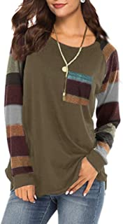 Lmx+3f Casual Women Stripe Sleeve Patchwork Casual Top with Pocket T-Shirt Loose Long Sleeve O-Neck Top Blouse