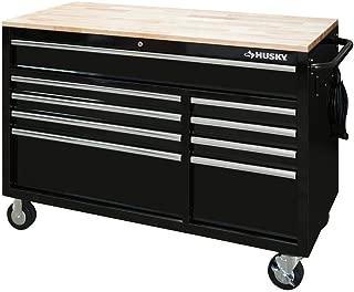 Husky 52 in. x 24.5 in. D 9-Drawer Mobile Workbench in Black