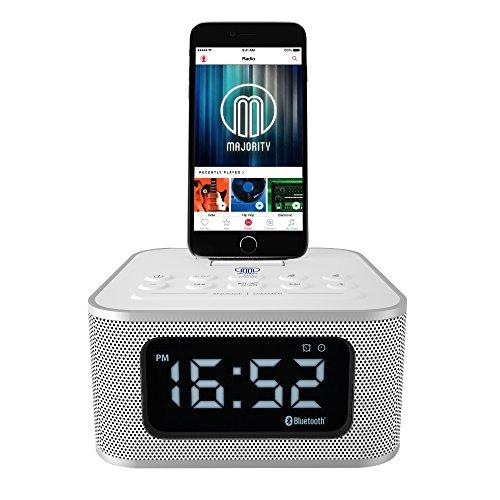 MAJORITY Neptune Speaker 20W Docking Station Bluetooth Alarm Clock FM Radio Lightning Dock for iPhone 5 5S 5C 6 6+ 6S 7 7+ 8 8+ X XR XS, iPad Air Mini iPod (Black)
