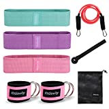 fitGevity Resistance Bands Exercise Bands for Legs and Butt,Fabric Non Slip Hip Fitness Booty Workout Bands, Set of 8 Resistance with Door Anchor Legs Ankle Straps for Men Women Gym Home Fitness Yoga