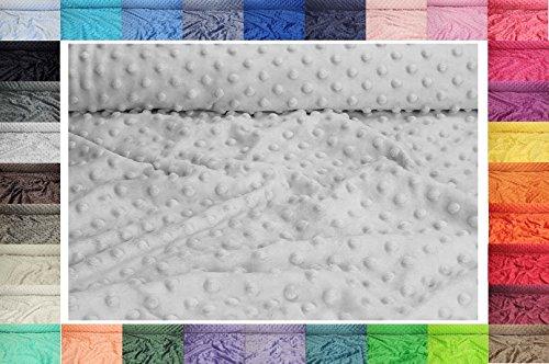 Minkee Winky Grübchen Punkt stoff, dickflüssig flauschiger Plüschstoff mit Noppen Fleece 50 x 155 cm (Nr 8 Hellgrau)