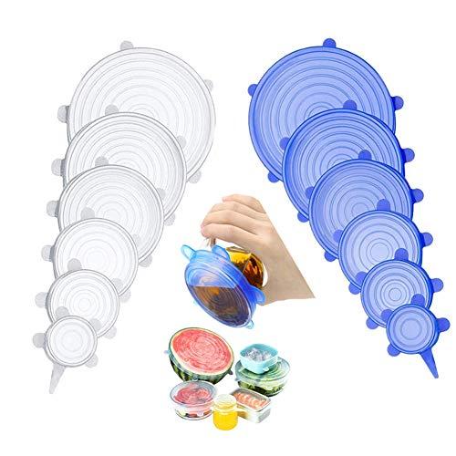 Silikondeckel, Dehnbare Silikondeckel, Silikon Stretch Abdeckung in Verschiedenen Größen Wiederverwendbar Dauerhaft Erweiterbar,für Schüsseln,Becher,Dosen,andere Früchte und Gemüse(12 Stück)