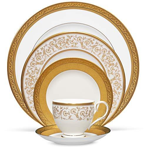 Noritake Summit Gold 5-Piece Place Dinnerware Setting in White