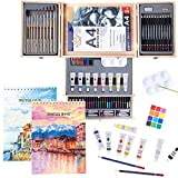 Professional Art Set 85 Piece with Drawing Pads, Deluxe Art Kit in Portable Wooden Case-Painting & Drawing Set,Art Supplies for Kids, Teens and Adults/Perfect Gift,Painting Supplies (White)