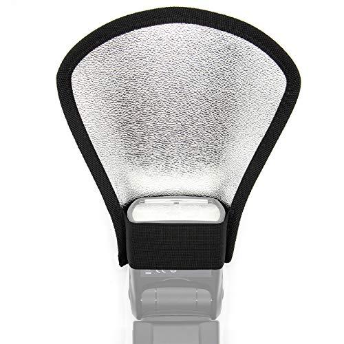 Ruberg riflettore flash 2 in 1 diffusore flash universale pieghevole argento riflettore bianco con elastico Adatto per Canon, Nikon, Sony 1 PZ