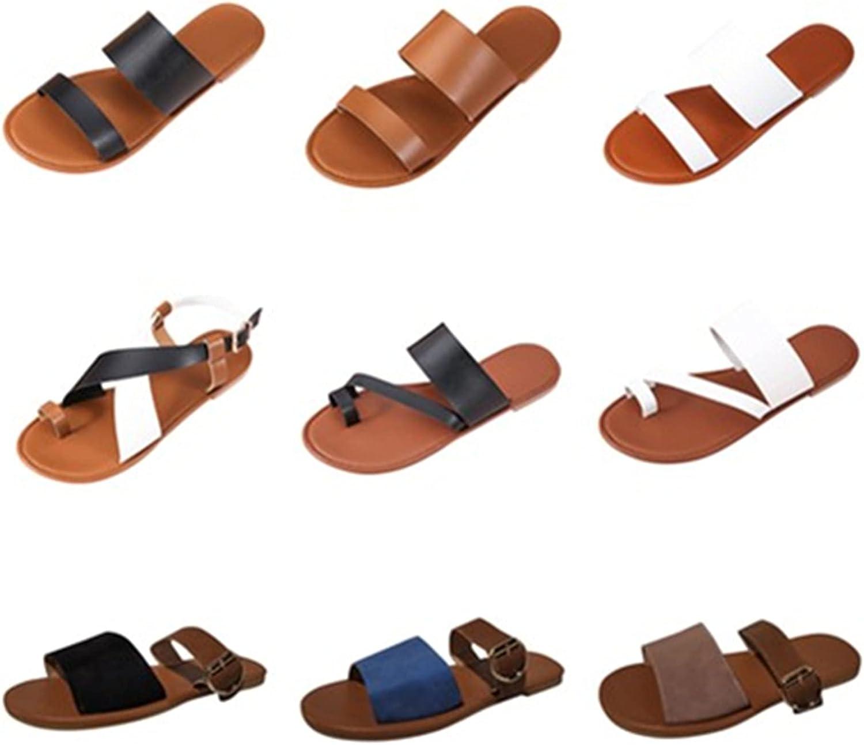 ZiSUGP Summer Women OFFicial shop Slip-On Open Flat Sandals NEW before selling ☆ Toe Beach Slippers