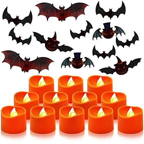 Aerbee Candele LED, Candele A Batteria Senza Fiamma Azionato Tealight Candele con 12 Bat Adesivi per Decorazioni per Feste di Halloween (12 Pezzi)