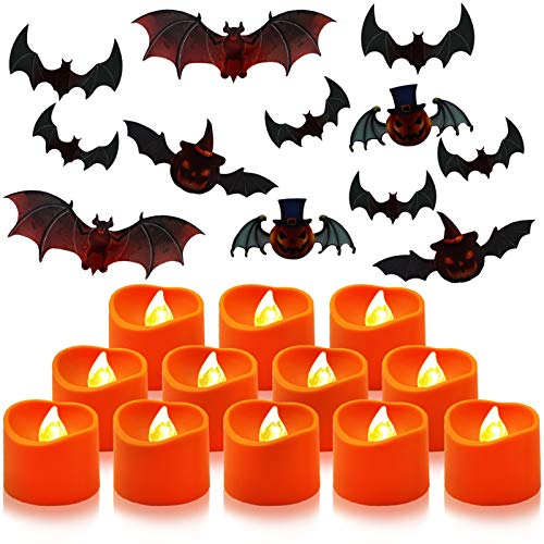 Aerbee LED Teelicht Kerzen Flammenlosen LED Kerzen mit Batterie Flackernde Elektrische teelichter mit 12 Fledermau Aufkleber für Halloween Dekoration (12er Pack)