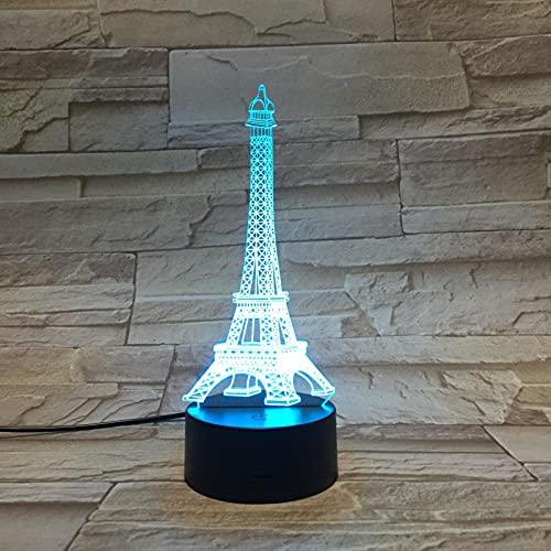 Lámpara Led 3D Romántica París Torre Eiffel Decoración Usb Iluminación Fiesta Ambiente De Oficina Luz Nocturna Lámpara De Mesa Multicolor Regalo 1pc