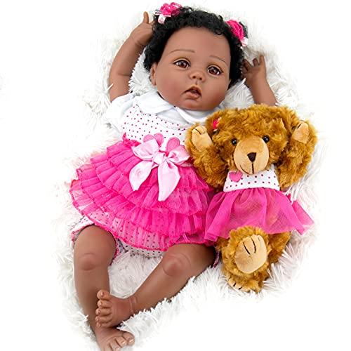 Milidool Black Reborn Baby Doll Lifelike Weighted African American Newborn Girl Dolls 22 Inch with Teddy Gift Set