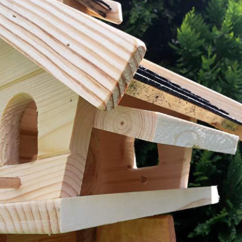 Vogelhaus-XL Schwarz- Vogelhäuser-Vogelfutterhaus Vogelhäuschen-aus Holz Wetterschutz Putzklappe - 6