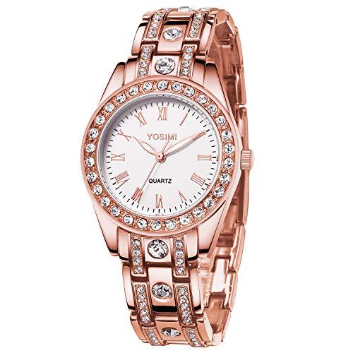 Orologio da donna YOSIMI con display analogico e cinturino in oro rosa stile lussuoso a forma tonda con cristalli di cristalli e lancette luminose impermeabili