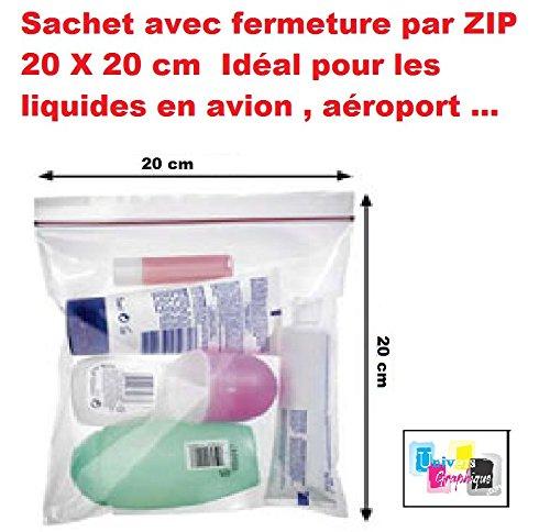 lot 5 ex - Beutel mit Reißverschluss 20 x 20 cm Ideal für Flüssigkeiten in Flugzeugen, Flughafen