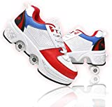 2 En 1 Patines Paralelos Multiusos, Patines De Cuatro Ruedas, Patines para Principiantes De Diseño Elegante, Zapatos Deportivos Unisex para Niños Adultos Al Aire Libre,31