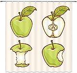 N\A Grüner Apfel Duschvorhang Dekor Schöne grüne Apfel Bad VorhangPolyester Stoff Maschine Waschbar mit 12 Stück Haken