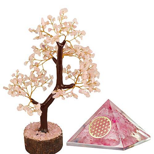 PARUHAS Rose Quartz Tree Orgone Pyramid Flower of Life Crystal Reiki Healing Gemstone Buddha Home Décor Bonsai Office Desk Spiritual Gift Chakra Room Table Feng Shui Good Luck Money Fortune Wealth