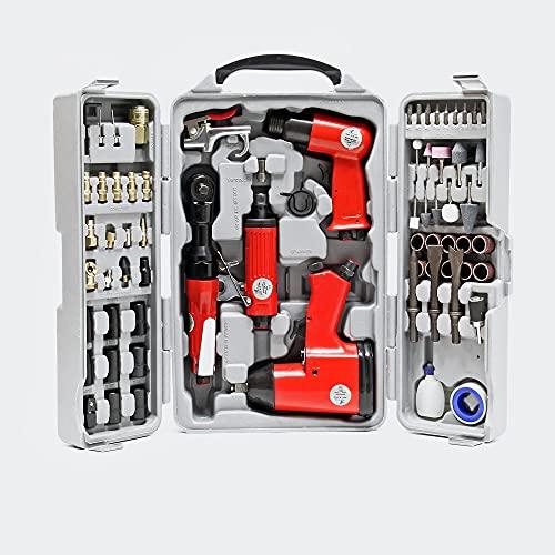WilTec Jeu d'outils pneumatiques 71 pcs. avec Clé à Chocs Marteau et Nombreux Accessoires à air comprimé